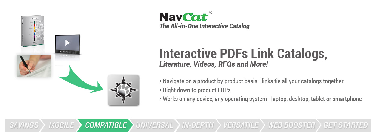 Interactive PDFs link catalogs, literature, videos, RFQs and more!